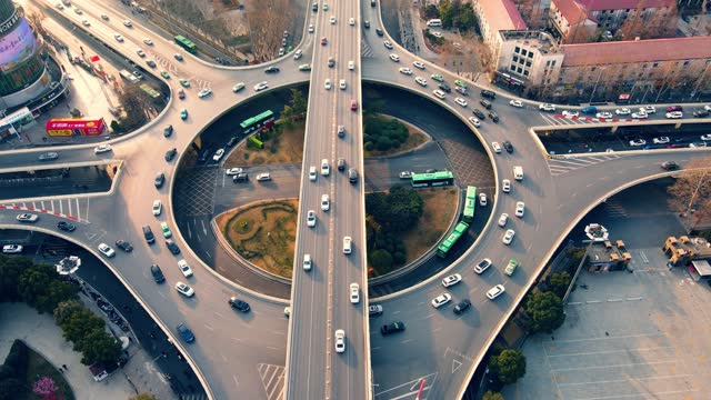 aerial view city overpass traffic - roundabout stock videos & royalty-free footage