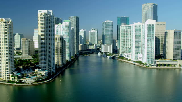 aerial view city skyscrapers brickell key miami florida - biscayne bay stock videos & royalty-free footage
