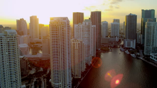 aerial view city skyscrapers brickell key miami florida - マイアミ点の映像素材/bロール