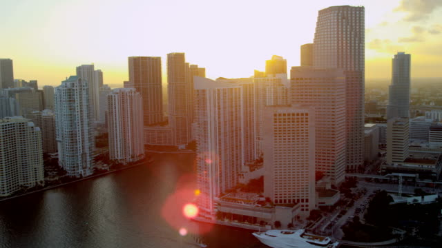 aerial view city skyscrapers brickell key miami florida - biscayne bay stock videos & royalty-free footage