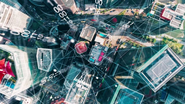 vídeos de stock e filmes b-roll de aerial view city with internet connection technology.networking and communication concept.wireless technology and internet of things.smart city.big data, artificial intelligence(ai) - cidade inteligente