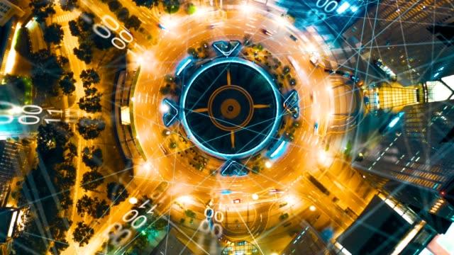 vídeos de stock, filmes e b-roll de vista aérea cidade com internet connection technology.networking e comunicação concept.wireless technology e internet of things. cidade inteligente. big data, inteligência artificial(ia) - complexidade