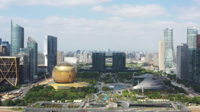 aerial view cityscape in hangzhou - hangzhou stock videos & royalty-free footage