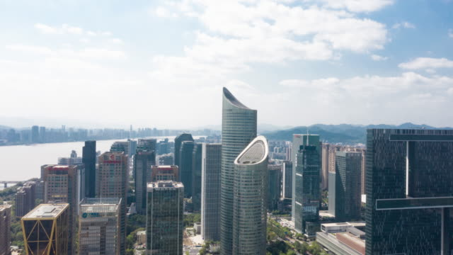 aerial view cityscape in hangzhou,time lapse - hangzhou stock videos & royalty-free footage