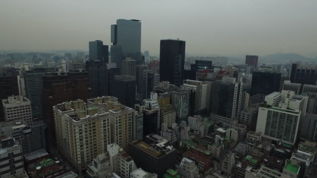 Aerial view Cityscape of Gangnam with Teheranno Street (Korean Silicon Valley area)