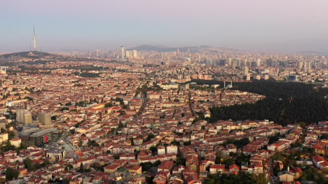 aerial view cityscape  of istanbul city - bridge built structure stock videos & royalty-free footage