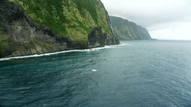 aerial view cliffs pacific ocean coastline hawaii usa - jurassic stock videos & royalty-free footage
