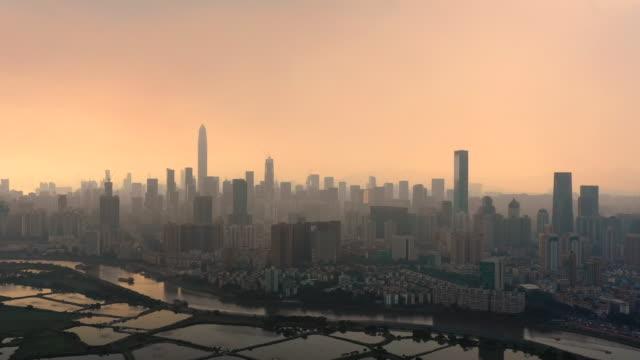 flygfoto molnstorm shenzhen city - luftförorening bildbanksvideor och videomaterial från bakom kulisserna
