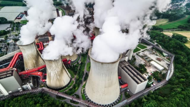 aerial view coal fired power station - chimney stock videos & royalty-free footage