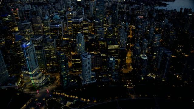 aerial view coal harbour vancouver british columbia canada - カナダ バンクーバー点の映像素材/bロール