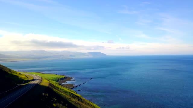 aerial view coast of western iceland - coastal road stock videos & royalty-free footage