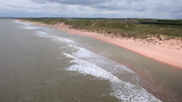 aerial view coastline at aberdeenshire, scotland - 夏休み点の映像素材/bロール