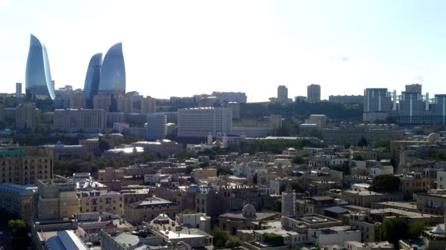 aerial view coastline of baku with with numerous modern high-rise buildings - baku video stock e b–roll