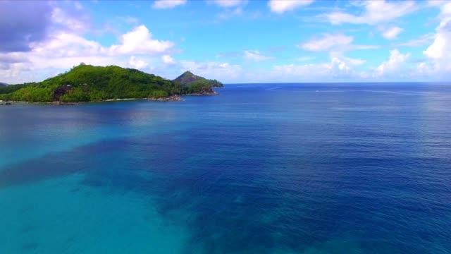 Aerial view: coastline of Mahé Island, Seychelles