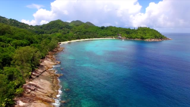 aerial view: coastline of mahé island, seychelles - igneous stock videos & royalty-free footage
