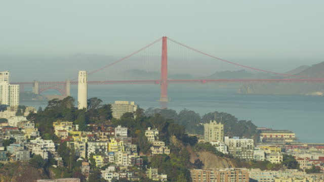 aerial view coit tower golden gate san francisco - golden gate bridge stock videos and b-roll footage