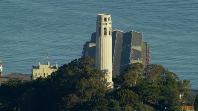 Aerial view Coit Tower Telegraph Hill San Francisco