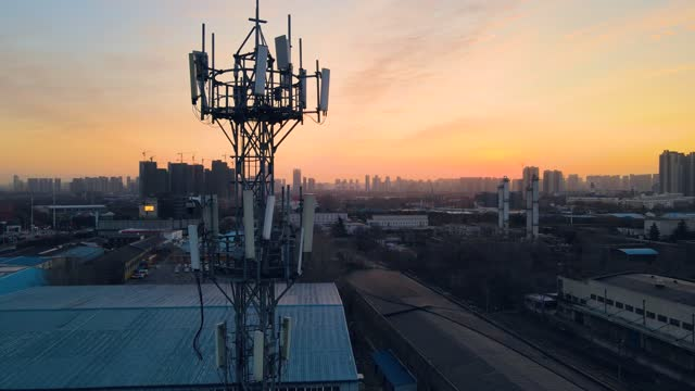 aerial view communications tower - mast stock videos & royalty-free footage