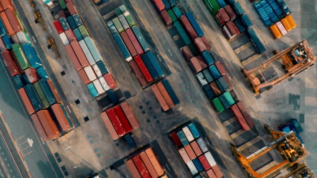 Aerial view container ships harbor
