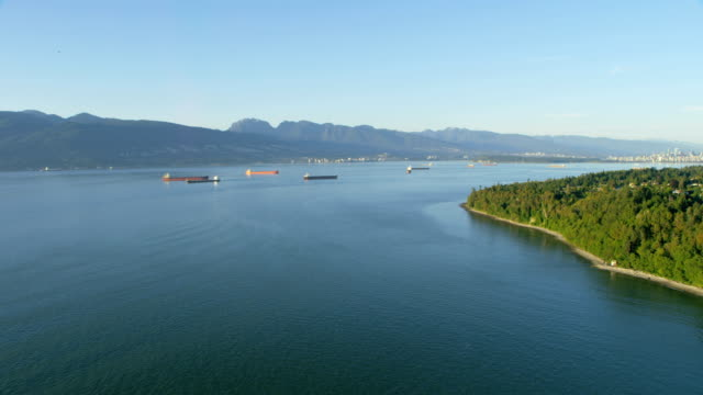aerial view container ships vancouver british columbia canada - anchored stock videos & royalty-free footage