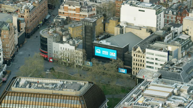 aerial view coronavirus lockdown london deserted leicester square - nhs stock videos & royalty-free footage