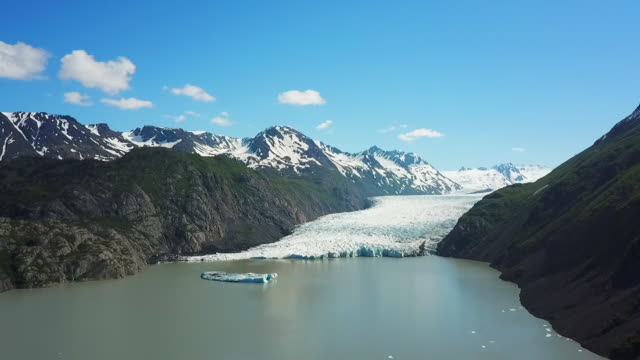 Aerial View Cove with Glacier between Mountains