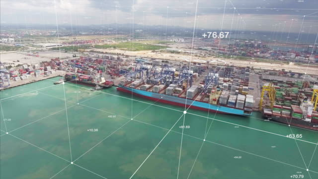 aerial view, crane and container ship in cargo port with futuristic network connections - freight transportation stock videos & royalty-free footage