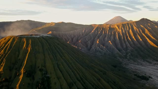 4K : Aerial view crater of Bromo volcane, East Java, Indonesia