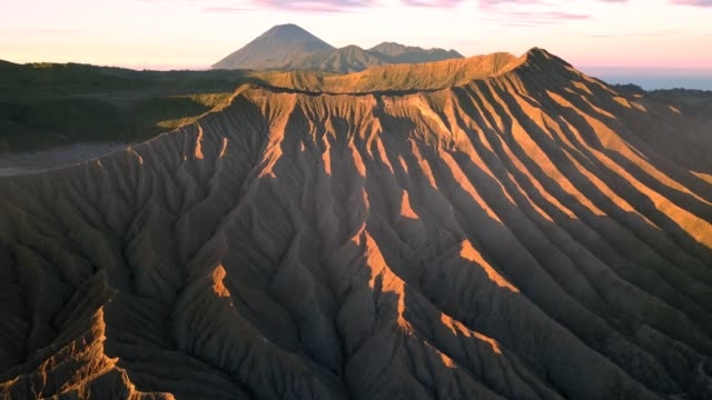 4k : aerial view crater of bromo volcane, east java, indonesia - bromo crater stock videos & royalty-free footage