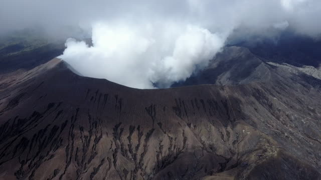 4K : Aerial view crater of Bromo volcano, East Java,aerial view of drone camera  Bromo volcano at Indonesia
