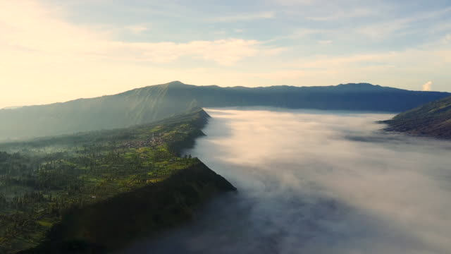 4k : aerial view crater of bromo volcano, east java,aerial view of drone camera  bromo volcano at indonesia - indonesia volcano stock videos & royalty-free footage