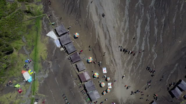 4k : aerial view crater of bromo volcano, east java,aerial view of drone camera  bromo volcano at indonesia - indonesia earthquake stock videos & royalty-free footage