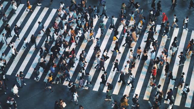 vidéos et rushes de foule aérienne de vue sur shibuya traversant le japon - mise au point sélective