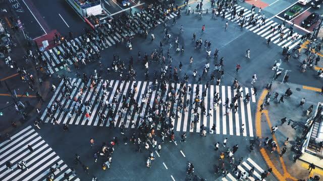 stockvideo's en b-roll-footage met luchtmeningsmenigte op shibuya die japan kruist - shibuya shibuya station
