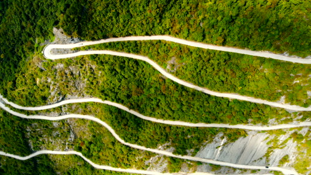 aerial view curve mountain road - narrow stock videos & royalty-free footage