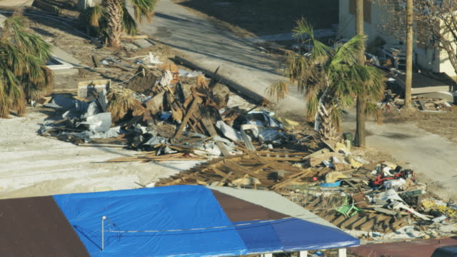 Aerial view damage to property by severe Hurricane