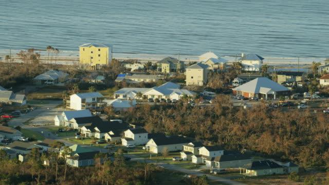 Aerial view damaged rooftops Hurricane Michael damage Florida