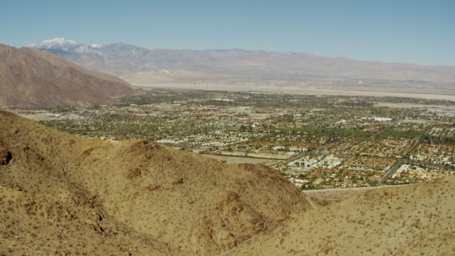 aerial view desert oasis city palm springs california - palm springs california stock videos & royalty-free footage