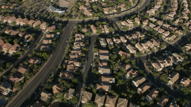 aerial view desert residential suburbs las vegas nevada - north stock videos & royalty-free footage