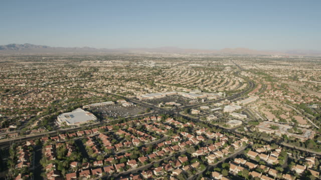 Aerial view desert residential suburbs Las Vegas Nevada