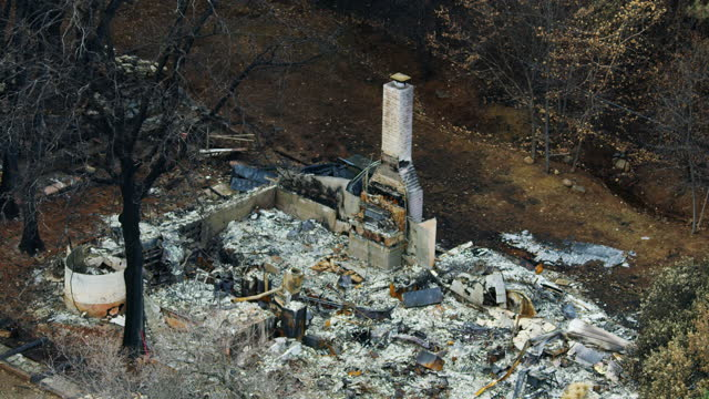 aerial view destroyed burnt chimney stack paradise california - burnt stock videos & royalty-free footage