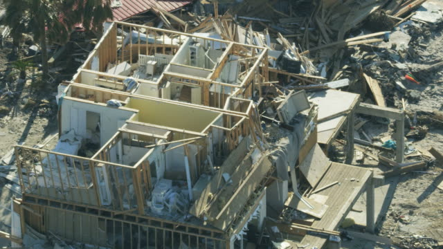 aerial view devastation to property wake of hurricane - rescue worker stock videos & royalty-free footage