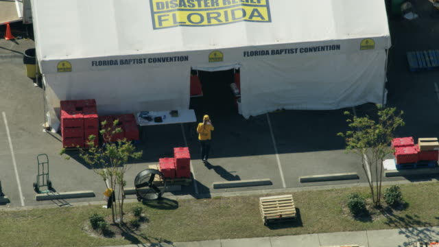 aerial view disaster relief tents temporary units florida - 2018 stock videos & royalty-free footage