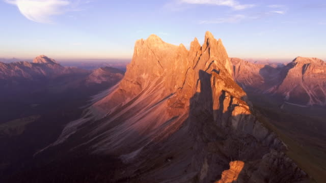 aerial view  dolomites val di funes  at sunset - north tirol stock videos & royalty-free footage