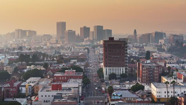 Aerial View Down Olympic Boulevard Across Westlake Towards Koreatown, Los Angeles