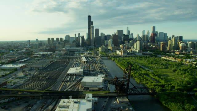 Aerial view downtown Chicago railroad and commercial areas