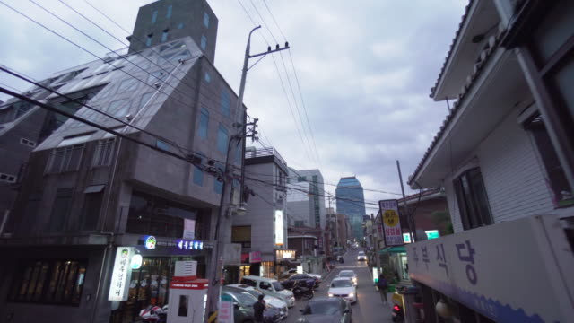 vídeos de stock, filmes e b-roll de aerial view, downtown cityscape in seoul - coreia do sul