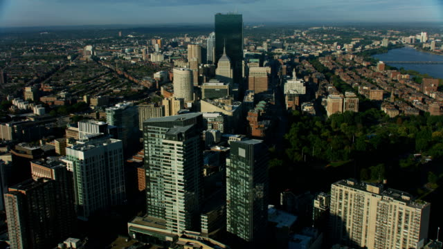 aerial view downtown financial district city buildings boston - boston massachusetts video stock e b–roll