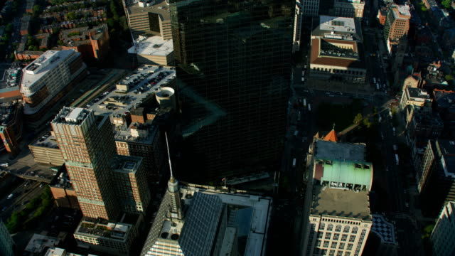 aerial view downtown financial district city buildings boston - massachusetts stock videos & royalty-free footage