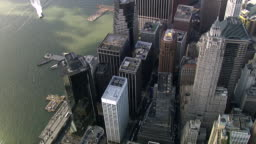 Aerial View Downtown Manhattan - Financial District , New York, USA